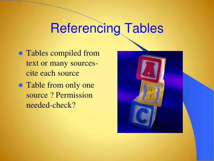 Referencing Tables