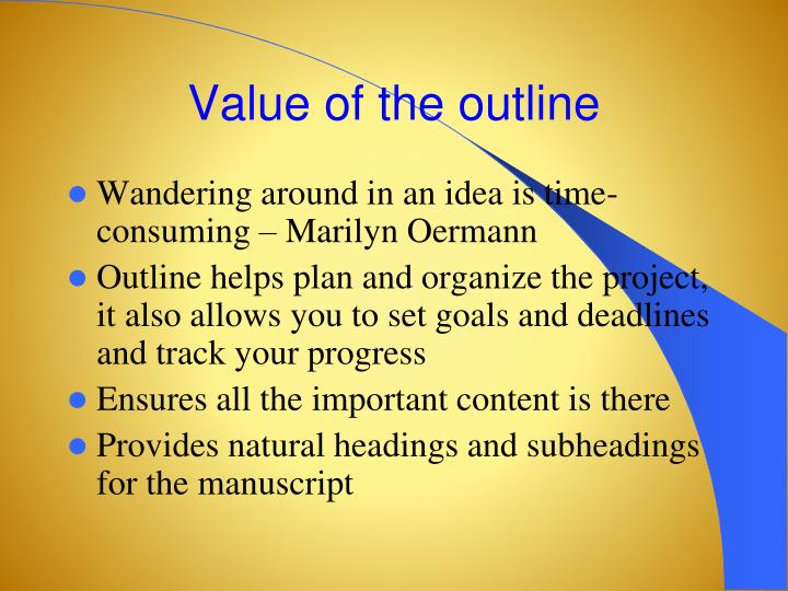 Value of the outline