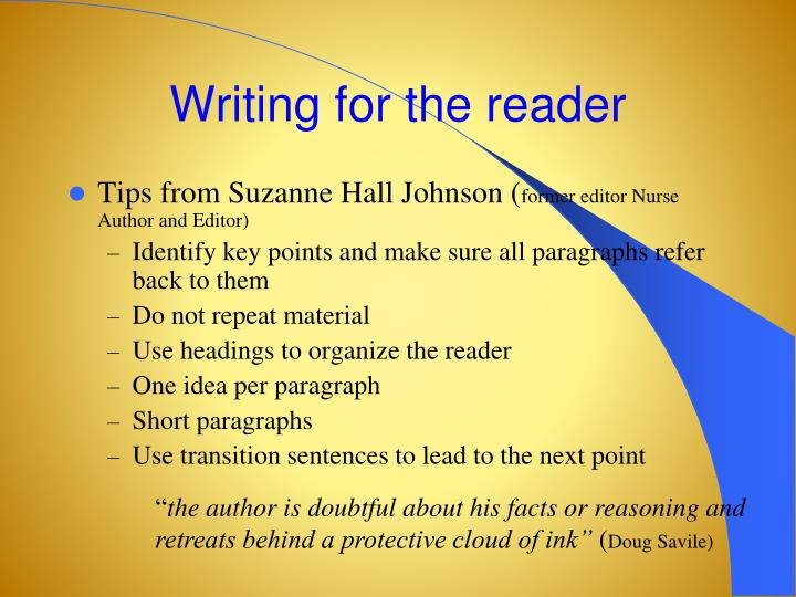 Writing for the reader