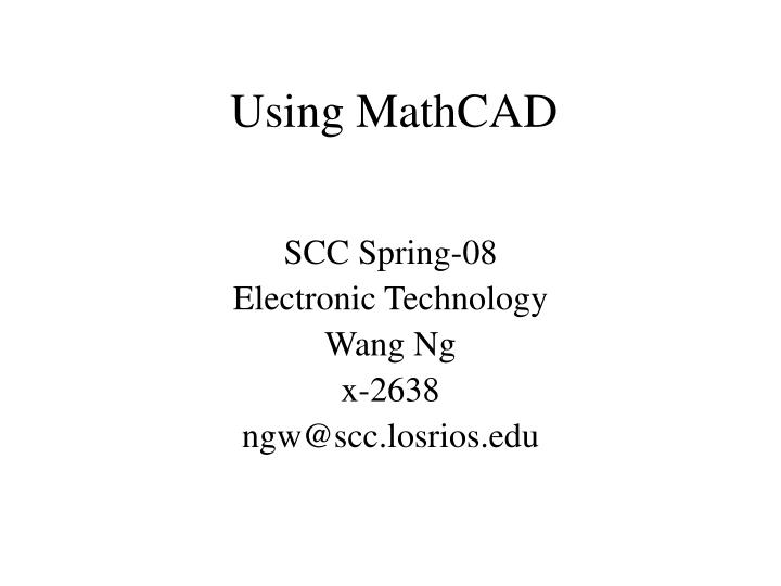 Using mathcad