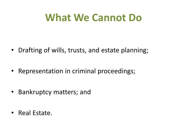 What We Cannot Do