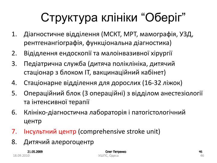 """Структура клініки """"Оберіг"""""""
