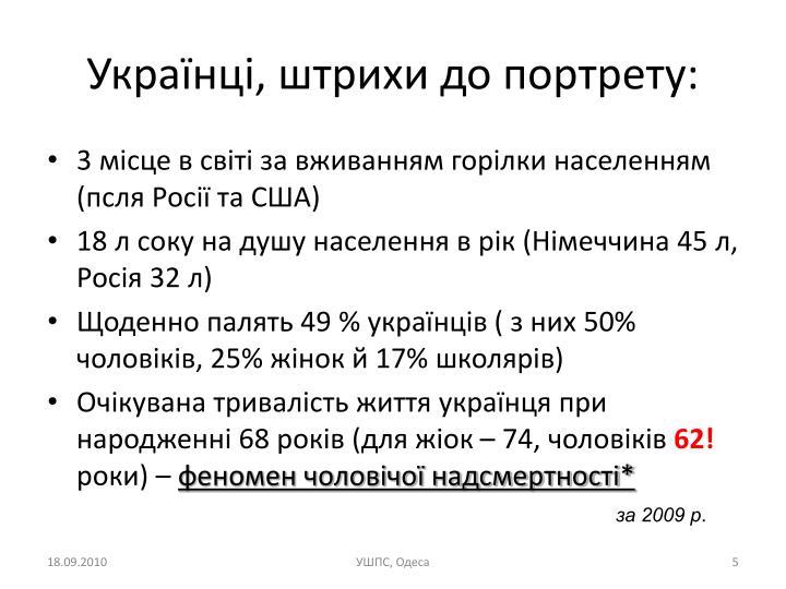 Українці, штрихи до портрету: