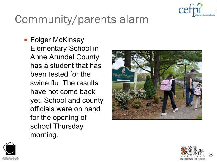 Community/parents alarm
