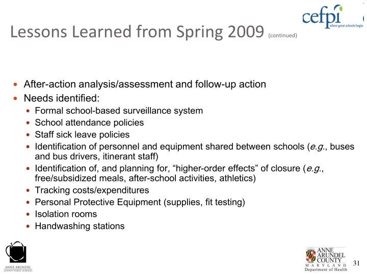Lessons Learned from Spring 2009