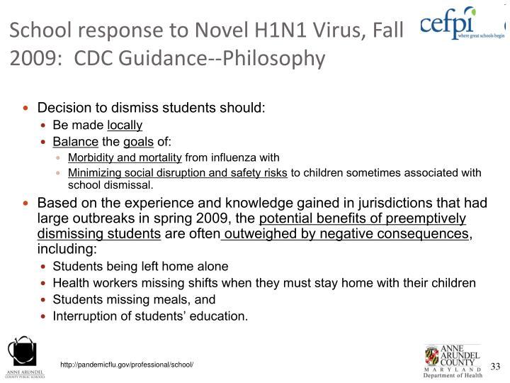 School response to Novel H1N1 Virus, Fall 2009:  CDC Guidance--Philosophy