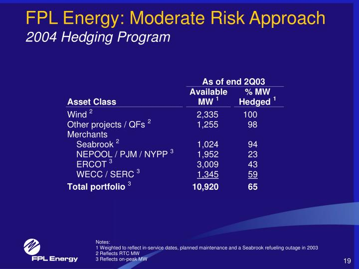 FPL Energy: Moderate Risk Approach