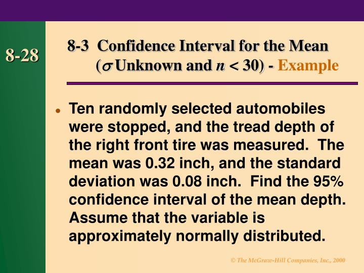 8-3  Confidence Interval for the Mean