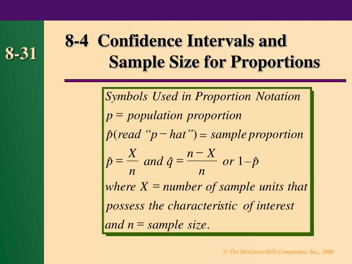 8-4  Confidence Intervals and   Sample Size for Proportions