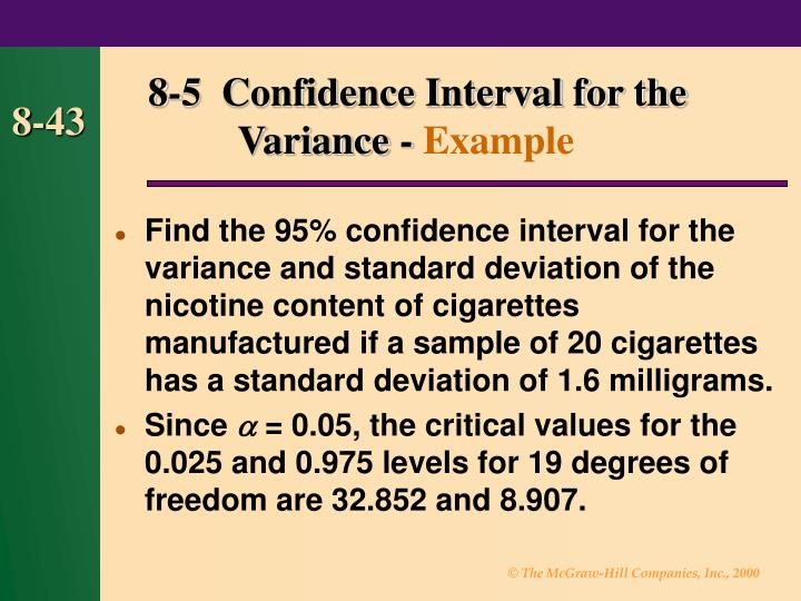 8-5  Confidence Interval for the  Variance -
