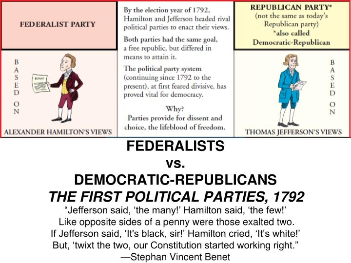 an analysis of federalists and the democratic republicans