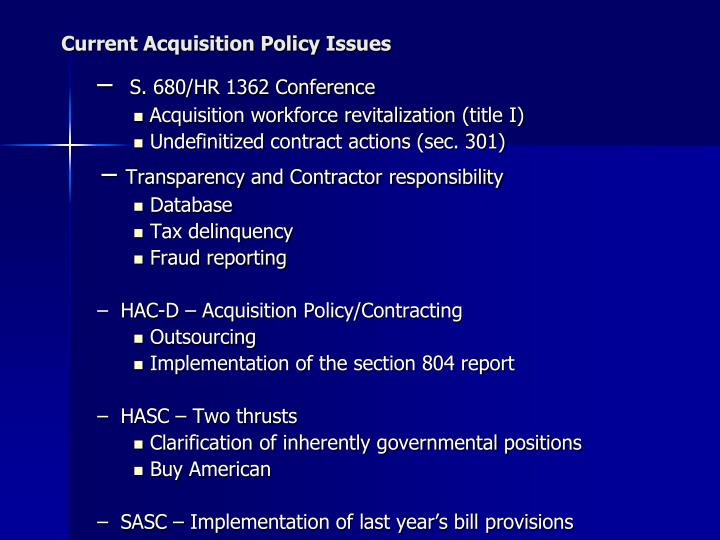 Current Acquisition Policy Issues