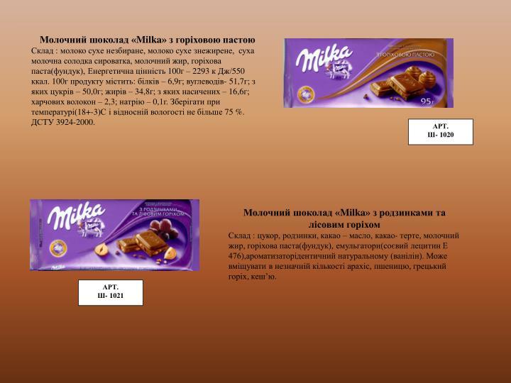 Молочний шоколад «