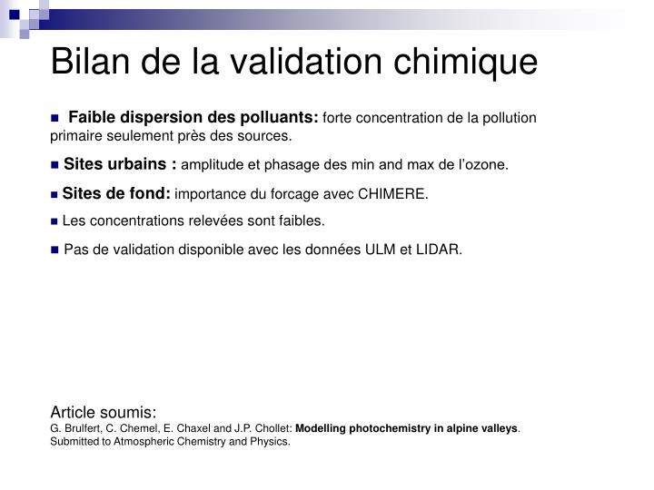 Bilan de la validation chimique