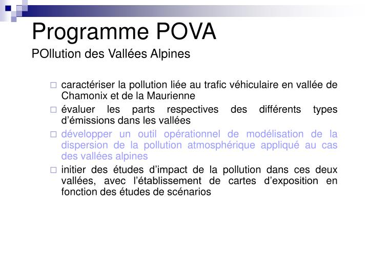 Programme POVA