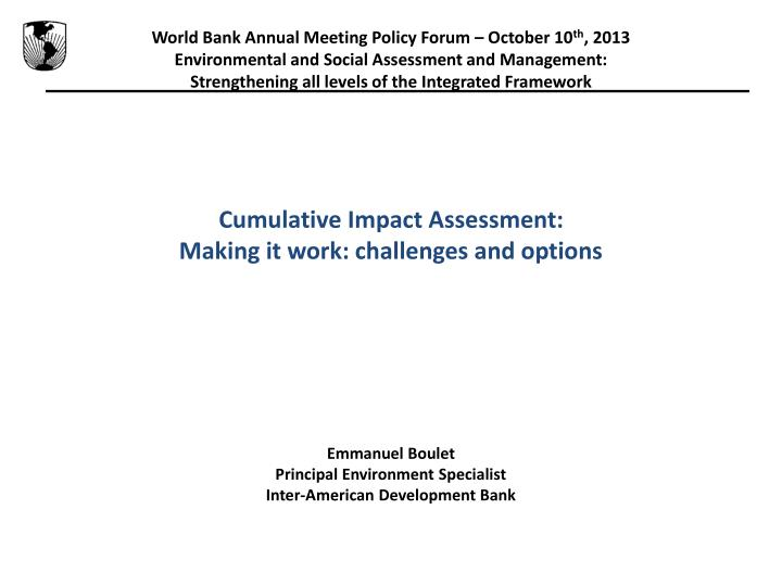 World Bank Annual Meeting Policy