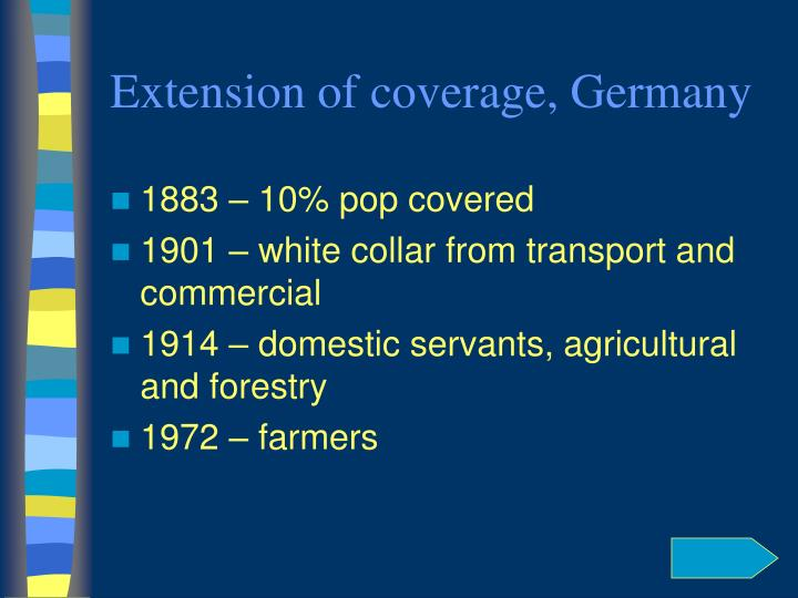 Extension of coverage, Germany