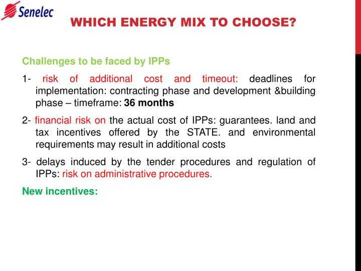 WHICH ENERGY MIX TO CHOOSE?