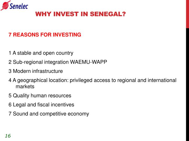 WHY INVEST IN SENEGAL?