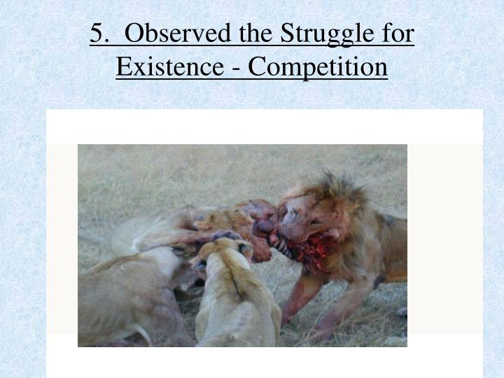 5.  Observed the Struggle for Existence - Competition