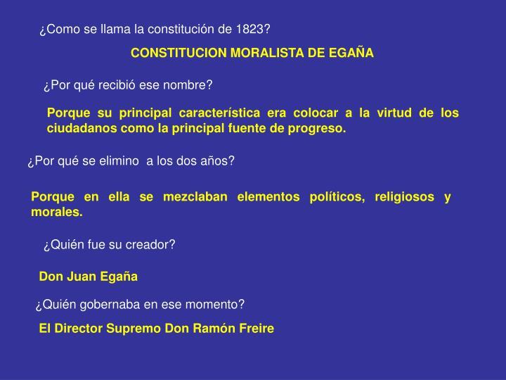 ¿Como se llama la constitución de 1823?