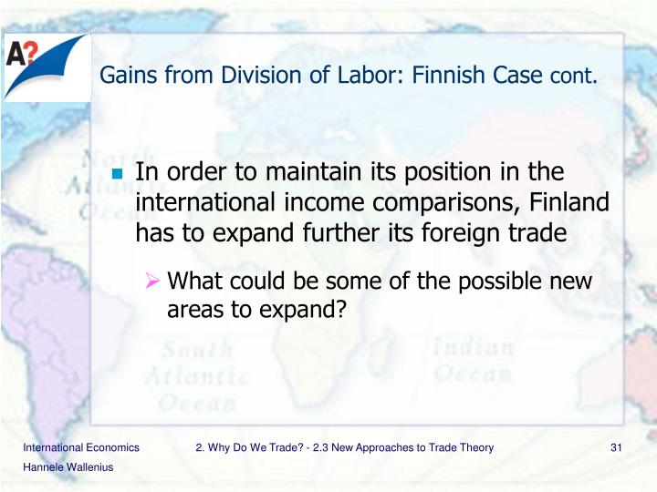 Gains from Division of Labor: Finnish Case