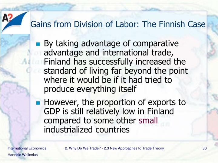 Gains from Division of Labor: The Finnish Case