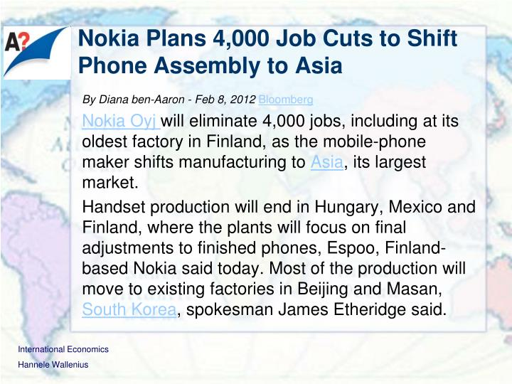 Nokia Plans 4,000 Job Cuts to Shift Phone Assembly to Asia