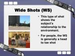 wide shots ws