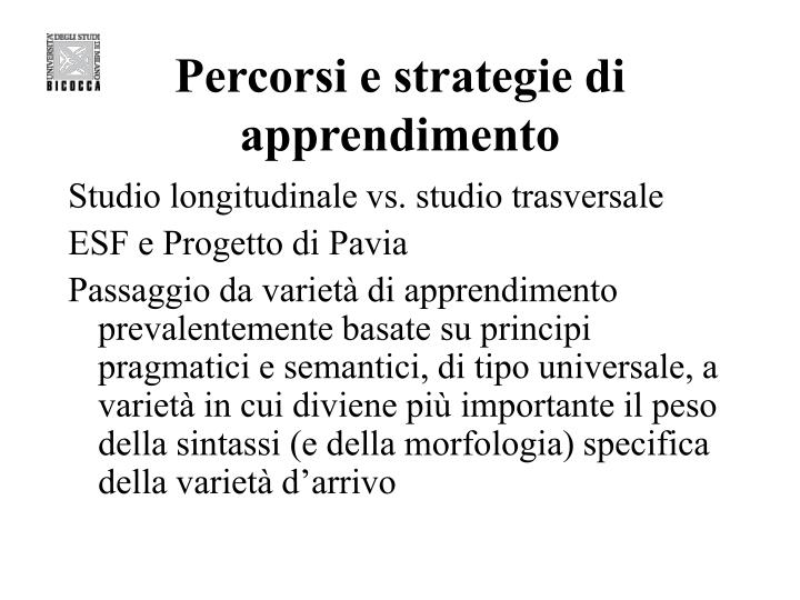 Percorsi e strategie di apprendimento
