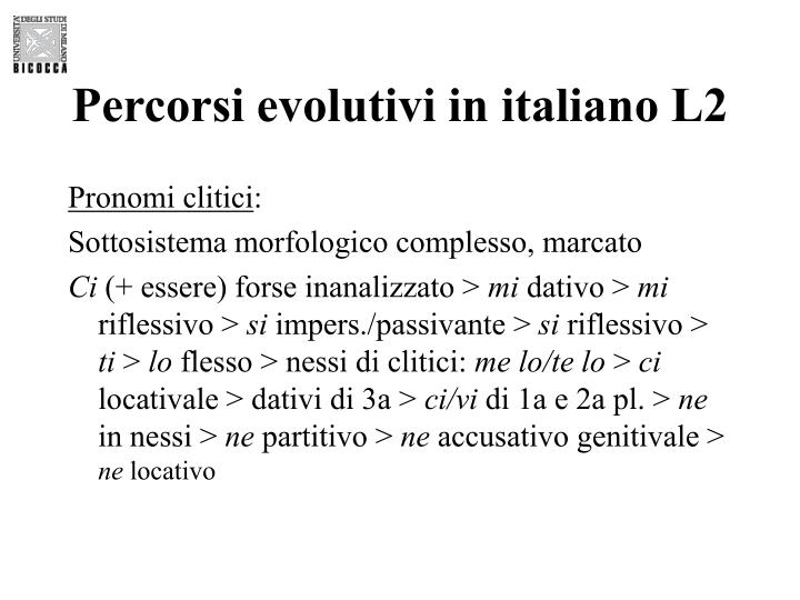 Percorsi evolutivi in italiano L2