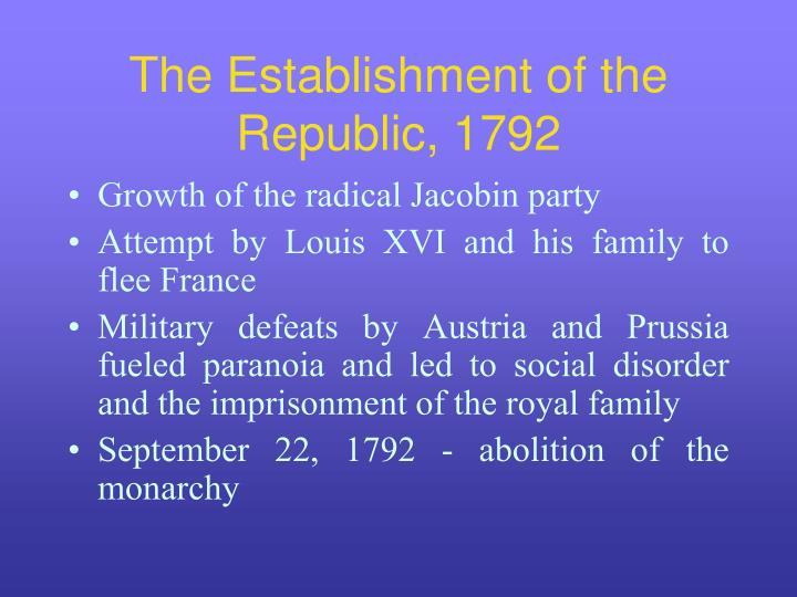 The Establishment of the Republic, 1792