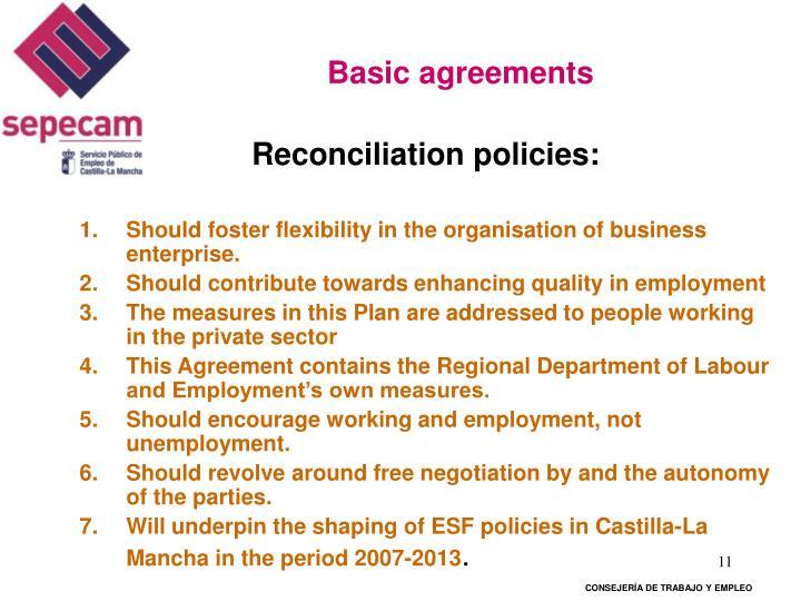 Basic agreements