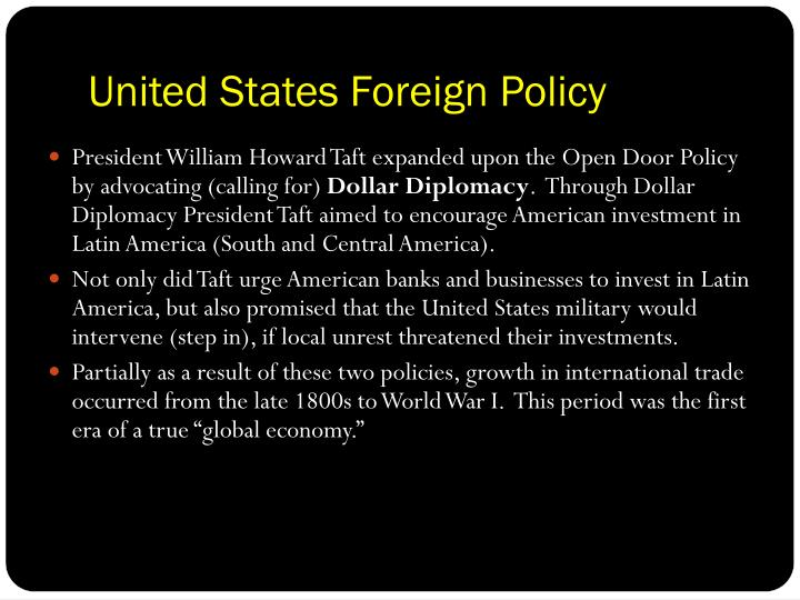 the united states foreign policy during Us trade policy since 1934 the effects of trade policy on the united states 8eichengreen notes that the extent to which increased foreign trade.