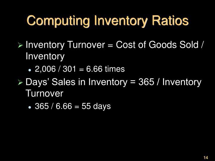 Computing Inventory Ratios