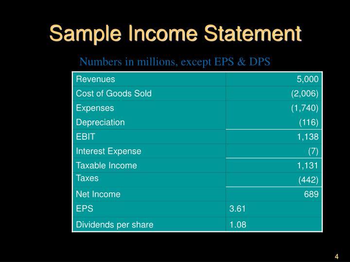 Sample Income Statement