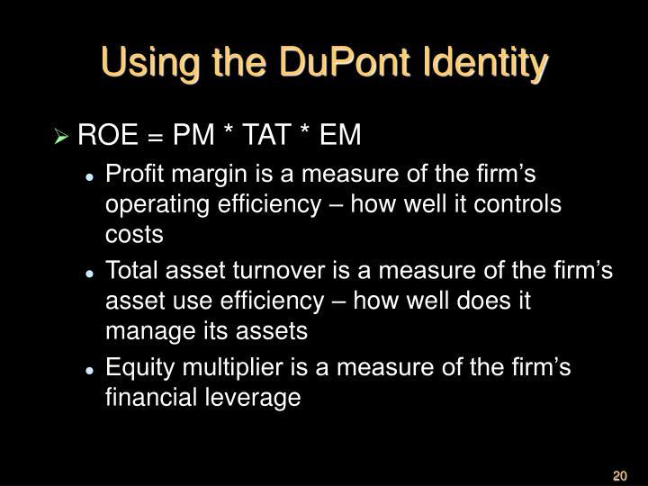 Using the DuPont Identity