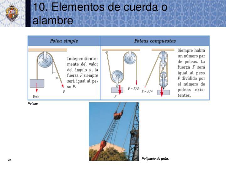 10. Elementos de cuerda o alambre