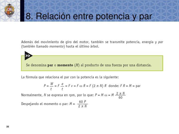 8. Relación entre potencia y par