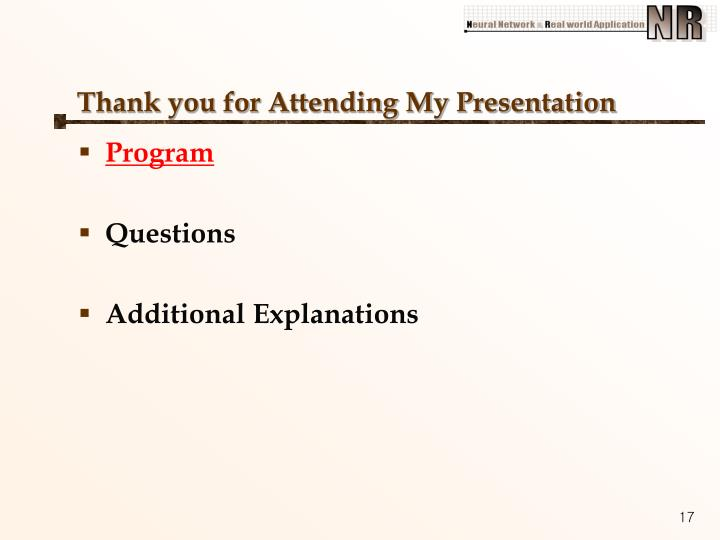 Thank you for Attending My Presentation