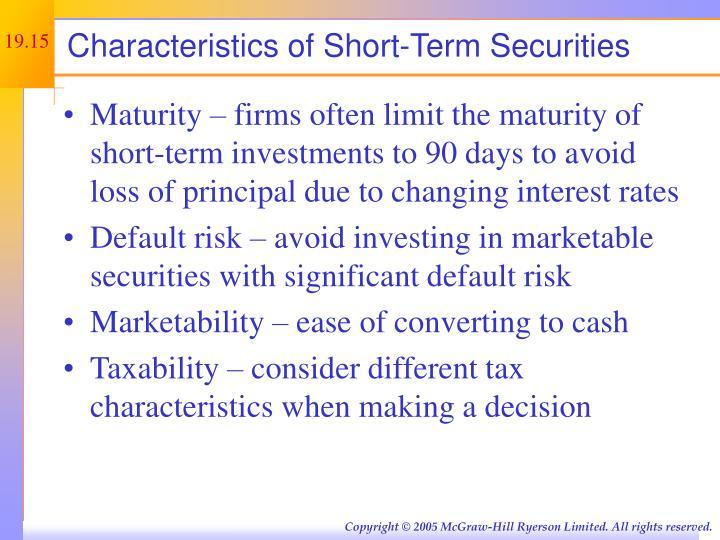 Characteristics of Short-Term Securities