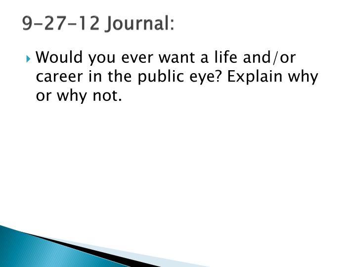 9-27-12 Journal: