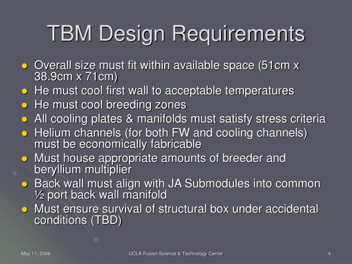 TBM Design Requirements