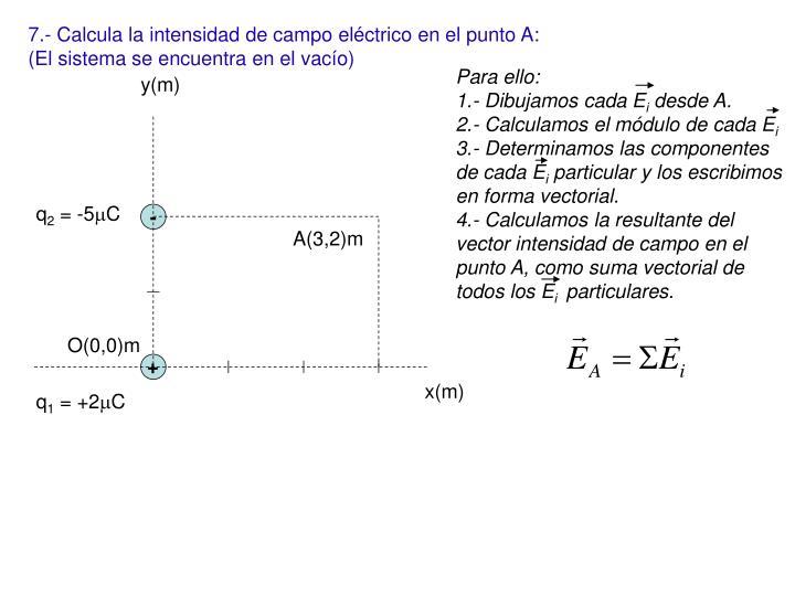 7.- Calcula la intensidad de campo eléctrico en el punto A: