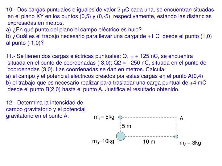 10.- Dos cargas puntuales e iguales de valor 2