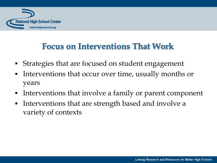 Focus on Interventions That Work