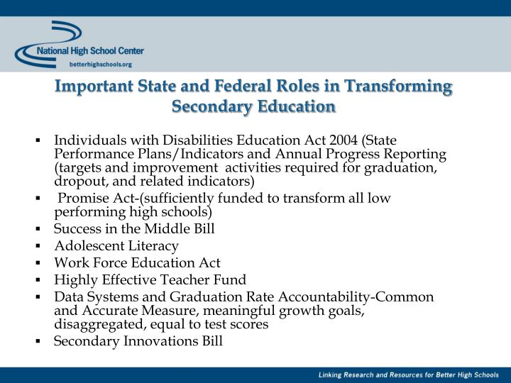 Important State and Federal Roles in Transforming Secondary Education