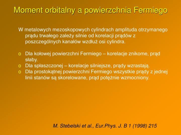 Moment orbitalny a powierzchnia Fermiego