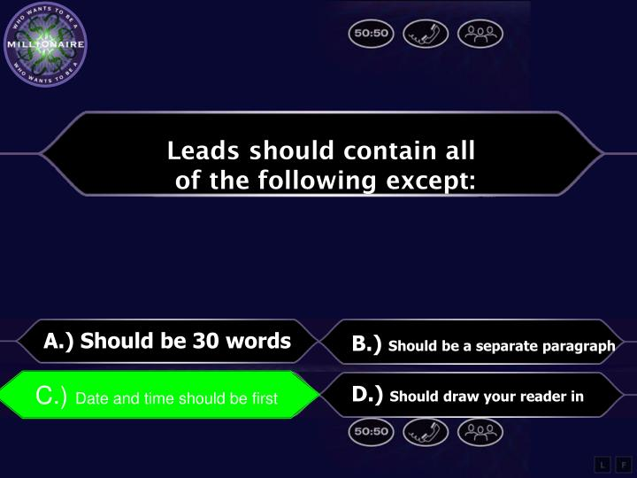 Leads should contain all