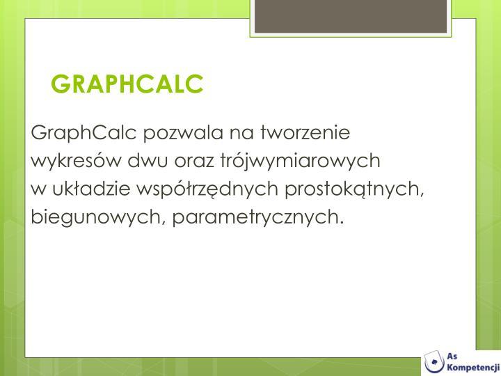 GraphCalc pozwala na tworzenie